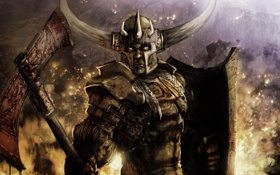Картинка пожар, огонь, кровь, доспехи, воин, шлем, топор