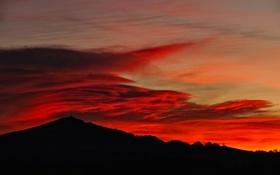 Картинка небо, облака, горы, силуэт, зарево