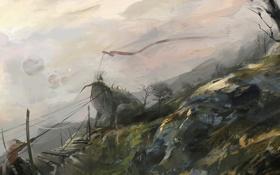 Картинка деревья, мост, люди, ветер, монстр, арт, стяг