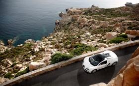 Обои скалы, берег, тачки, Bugatti, Grand, Veyron, cars