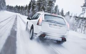 Картинка зима, дорога, снег, Машина, белая