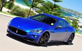 Обои спорткар, мазерати, синий, небо, передок, S MC, GranTurismo