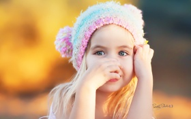 Обои взгляд, дети, лицо, настроения, девочка, шапочка, вязка