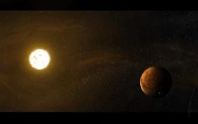 Картинка космос, звезда, планета, спутник, stars