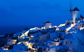 Картинка ночь, греция, Oia Windmills