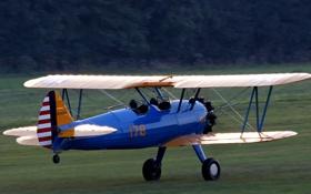 Картинка Boeing, самолёт, аэродром, взлёт, готовность, Stearman, PT-17