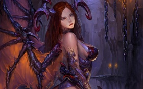 Обои девушка, крылья, арт, рога, цепи, демоница, Legend of the cryptids