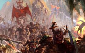 Обои зомби, хаос, орки, скелеты, топоры, армия тьмы