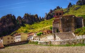 Картинка горы, город, фото, Испания, Pancorbo