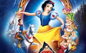 Обои принц, cartoon, Белоснежка, Walt Disney, Дисней, Белоснежка и 7 гномов