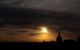 Обои облака, закат, тучи, город, Москва, Кремль