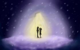 Обои фонарь, романтика, встреча, пара, Димон, Nightwayfarer, TongueTied
