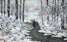 Обои зима, лес, снег, лёд, живопись, ёлки, коньки