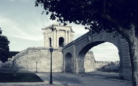 Обои мост, дерево, фонарь, франция, беседка, монпелье