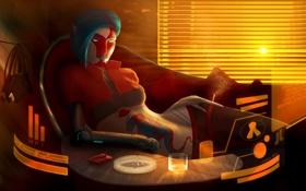 Картинка девушка, солнце, стакан, робот, спички, окно, арт