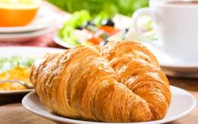 Обои breakfast, джем, croissant, круассаны, выпечка, завтрак