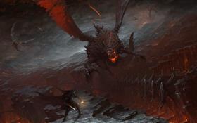 Картинка замок, скалы, человек, драконы, меч, арт, фонарь