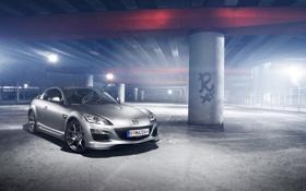 Обои блики, Mazda, серебристая, мазда, RX-8, silvery, бетонные опоры
