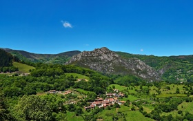 Обои горы, поля, дома, панорама, Испания, леса