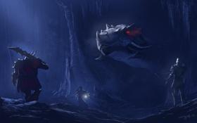 Картинка пещера, лучник, дракон, люди, морда, воин, маг