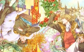 Картинка роза, Hetalia, часы, хеталия, фея, дракон