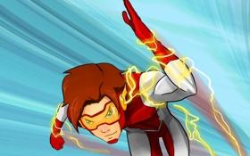 Картинка фантастика, костюм, art, flash, dc comics, Bart Allen, impulse