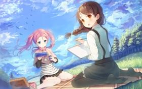 Картинка облака, румянец, your diary, две девушки, hirosaki kanade, открытый рот, каштановые волосы