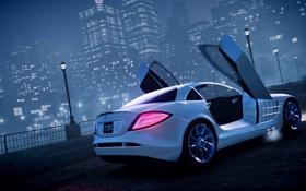 Картинка машина, ночь, туман, GTA 4, Mersedes SLR
