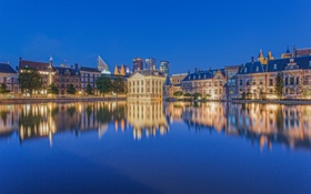 Картинка небо, вода, огни, дома, вечер, Нидерланды, набережная