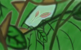 Обои природа, рисунок, листы, от руки