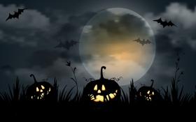 Обои evil pumpkins, жутко, летучих мышей, страшно, полная луна, Хэллоуин, scary