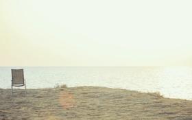 Обои стул, берег, пустошь, горизонт, море