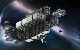 Обои космос, планета, фантастика, полет, корабль, поверхность, Star Citizen