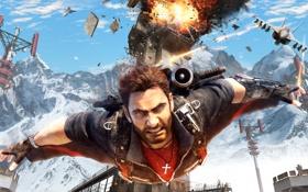 Обои взрыв, самолет, разрушение, мужчина, Square Enix, wingsuit, Just Cause 3
