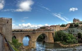 Картинка мост, река, крепость, Испания, Spain, Cities, город.