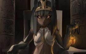 Обои глаза, Девушка, символы, амулет, сидит, египет, скарабей