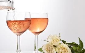 Картинка цветы, вино, бокал, розы