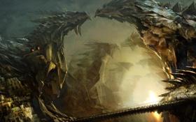 Обои мост, город, огни, скалы, дракон, ступеньки