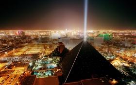 Обои небо, свет, город, пирамида, улицы, Las Vegas