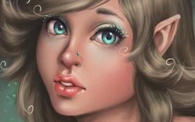 Обои арт, пирсинг, девушка, лицо, эльфийка