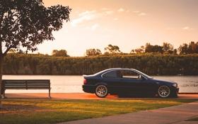 Картинка бмв, BMW, синяя, blue, E46