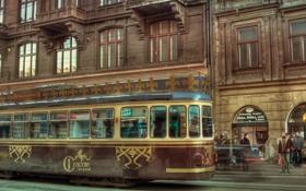 Картинка движение, улица, трамвай, старые дома