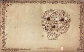 Картинка рамка, Череп, бежевый