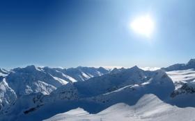 Обои Солнце, Небо, Фото, Горы, Скалы, Снег, Гора