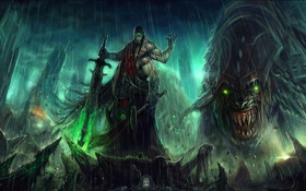 Обои тучи, дождь, меч, молот, воин, монстры, тела