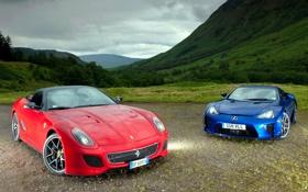Обои blue, Lexus LFA, Ferrari GTO, red, supercars