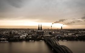 Картинка мост, река, дым, башня, Германия, панорама, собор