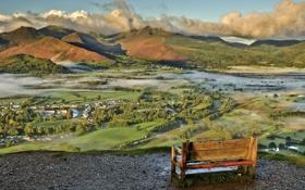 Картинка пейзаж, долина, скамья