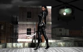 Обои попа, грудь, город, рендеринг, девушки, тело, меч
