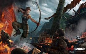 Обои Расхитительница гробниц, автомат, бандиты, луг, девушка, калаш, Tomb Raider